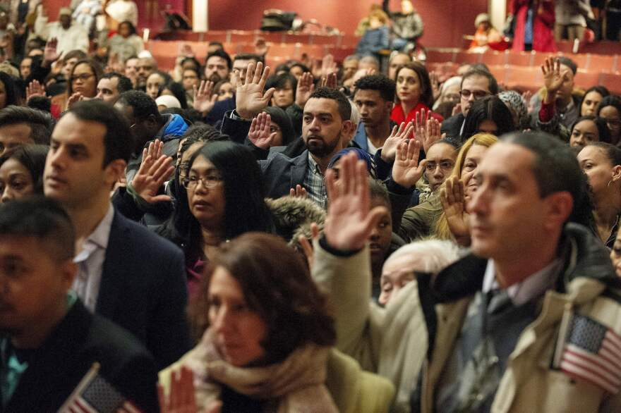 A 2019 naturalization ceremony in Lowell, Mass. The pandemic has put such ceremonies on hold in an election year when many new citizens vote for the first time.