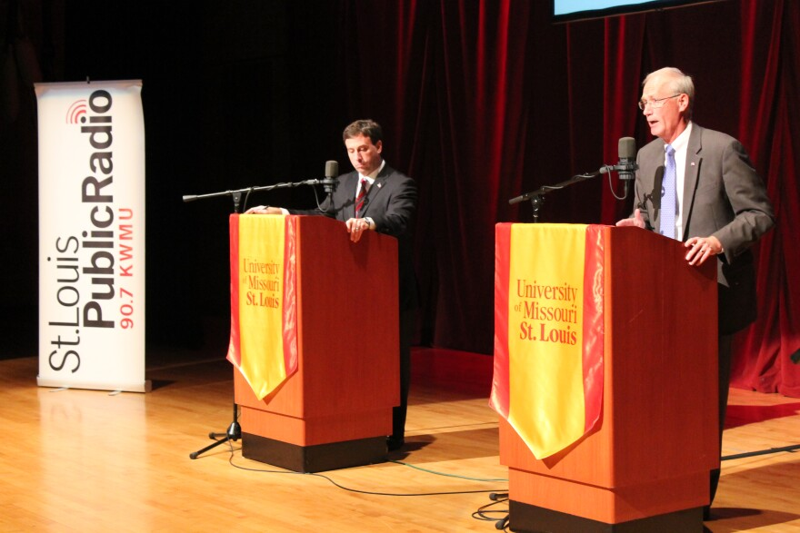 St. Louis Public Radio aired the first public debate between two candidates for St. Louis County executive, Democrat Steve Stenger, left and Republican Rick Stream (right).