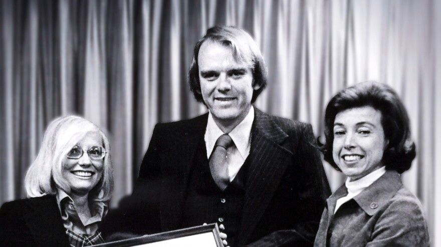 Robert Hunter became the federal insurance administrator in 1976. On the right is then-Secretary of Housing for Urban Development Carla Hills, and on the left is his wife, Carole.