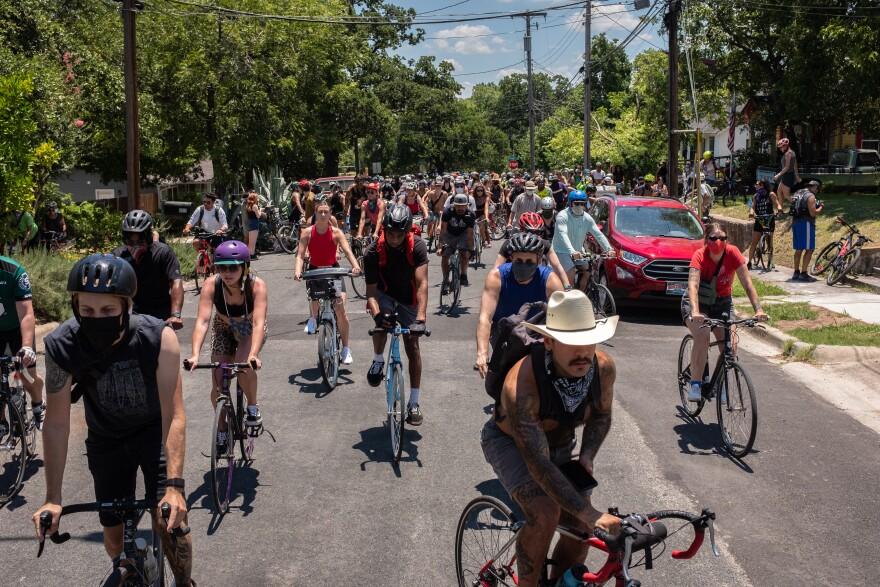 Hundreds of bikers joined Abdullahi on his Black history biking tour through Austin on June 14.