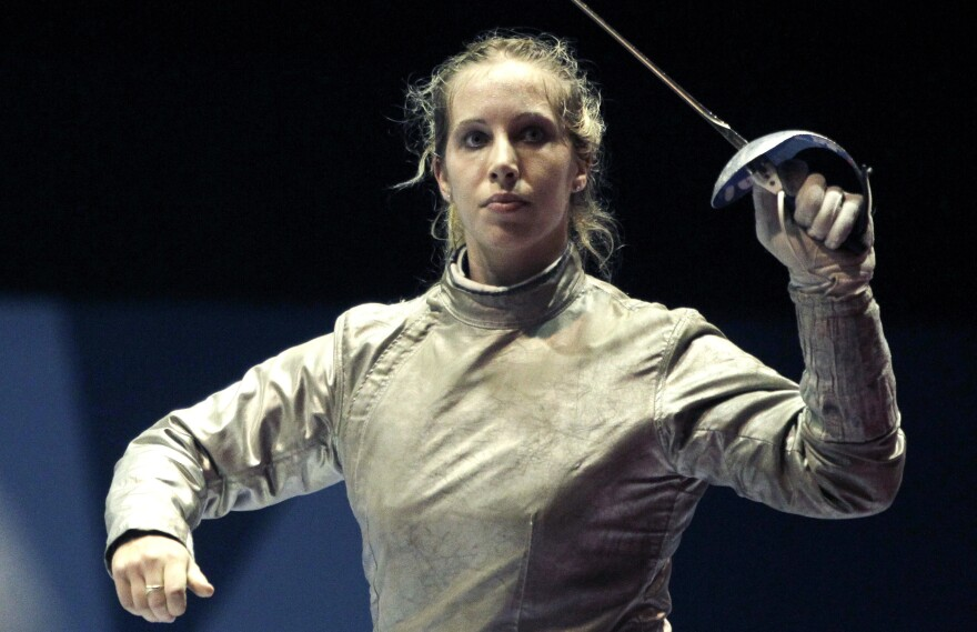 Mariel Zagunis has been named the U.S. flagbearer for the London 2012 Opening Ceremony. Here, Zagunis celebrates a win in the individual sabre final at the Pan American Games last year.