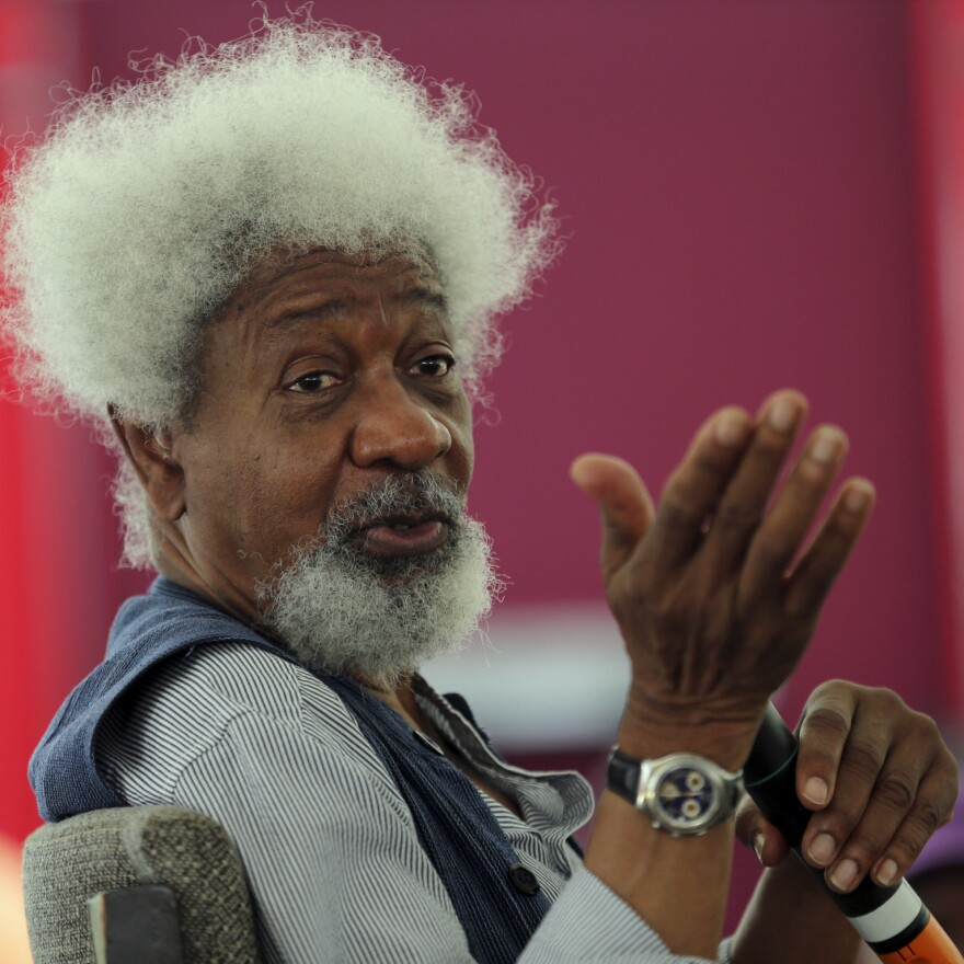 Nobel laureate Wole Soyinka, during a mentoring session at the Lagos Book and Art Festival in 2014.