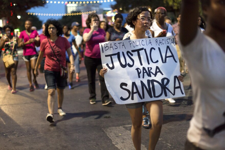 On July 23, 2015, protesters walked from Victory Grill in East Austin towards the Texas Capitol to attend a vigil for Sandra Bland.