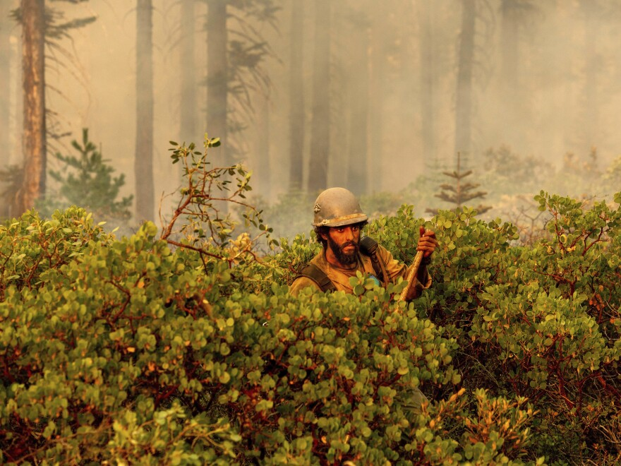 Firefighter Cody Carter battles the North Complex Fire in Plumas National Forest, Calif., on Monday.