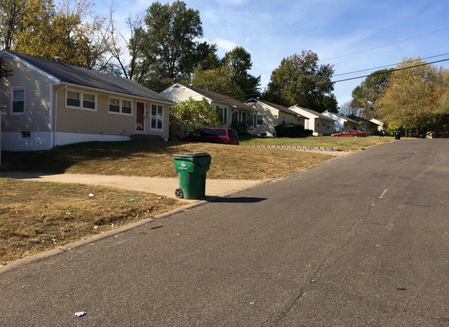 A row of small flats in Glasgow Village, an unincorporated community in north St. Louis County.