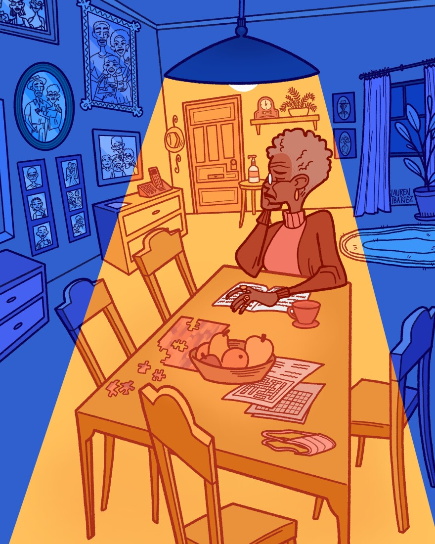 An illustration of a woman alone at her kitchen table to show loneliness among older adults during the pandemic.