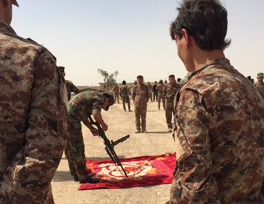 Iraqi tribal fighters opposed to the Islamic State receive weapons training near Amiriyat al-Fallujah in the western province of Anbar. It's been more than a year since the U.S. organized a coalition to fight the Islamic State, but the group still holds much of western Iraq.