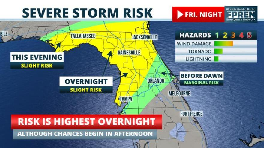 Map shows severe storm risk in north and central Florida