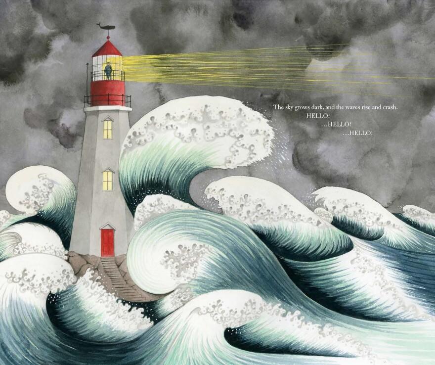 An excerpt of Sophie Blackall's Caldecott-winning <em>Hello Lighthouse.</em>