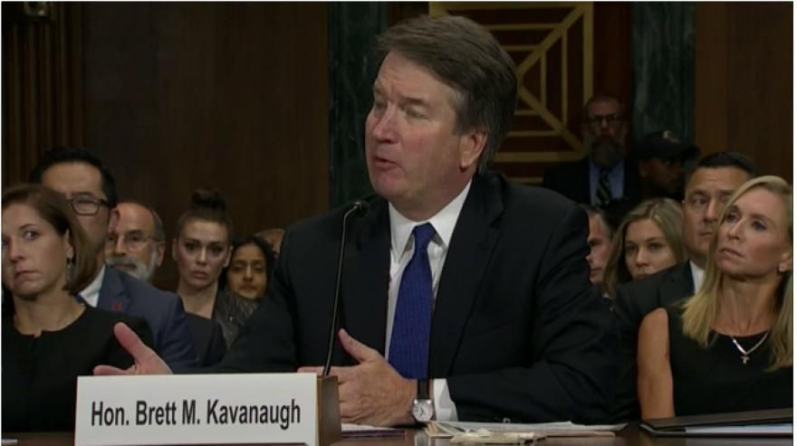 Screenshot of Brett Kavanaugh in testimony.