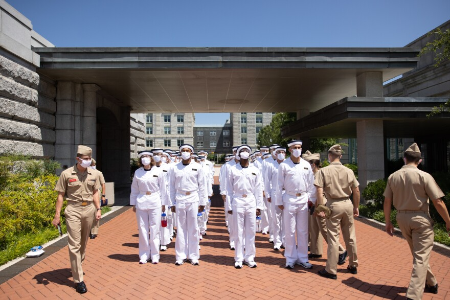 """Plebe summer"" detailers, or trainers, lead a company of incoming freshman students — the ""plebes"" — at the U.S. Naval Academy in Annapolis, Md."