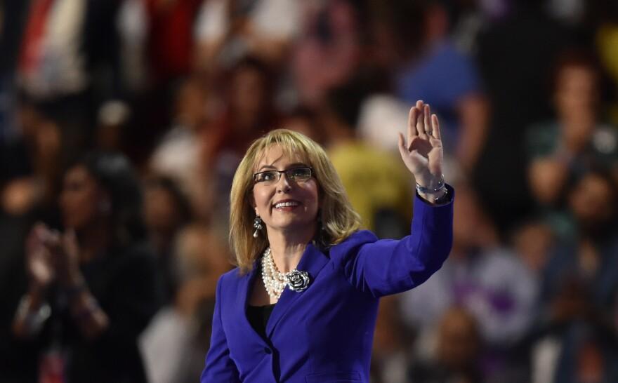 "In her speech, former Congresswoman Gabrielle Giffords declared, ""Strong women get things done."""