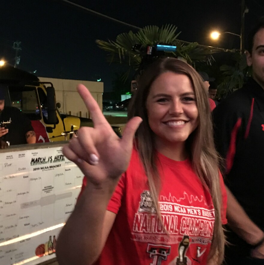 Britni Cook, at the Red Raiders watch party at High Fives in Dallas