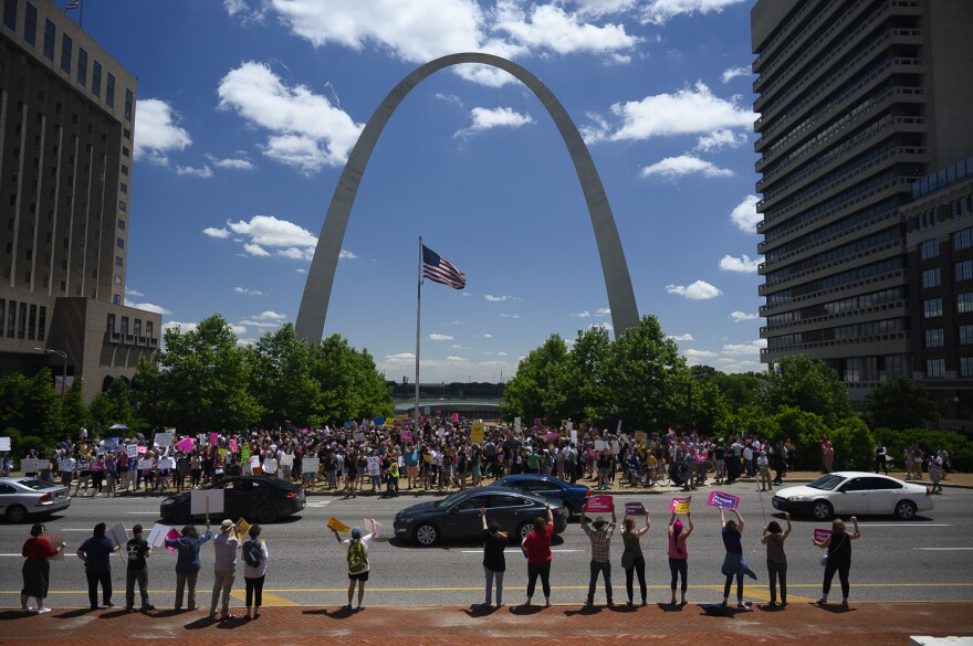 Women protest in downtown St. Louis on May 30, 2019, to influence Missouri Circuit Judge Michael Stelzer's decision on the fate of St. Louis' last abortion clinic.
