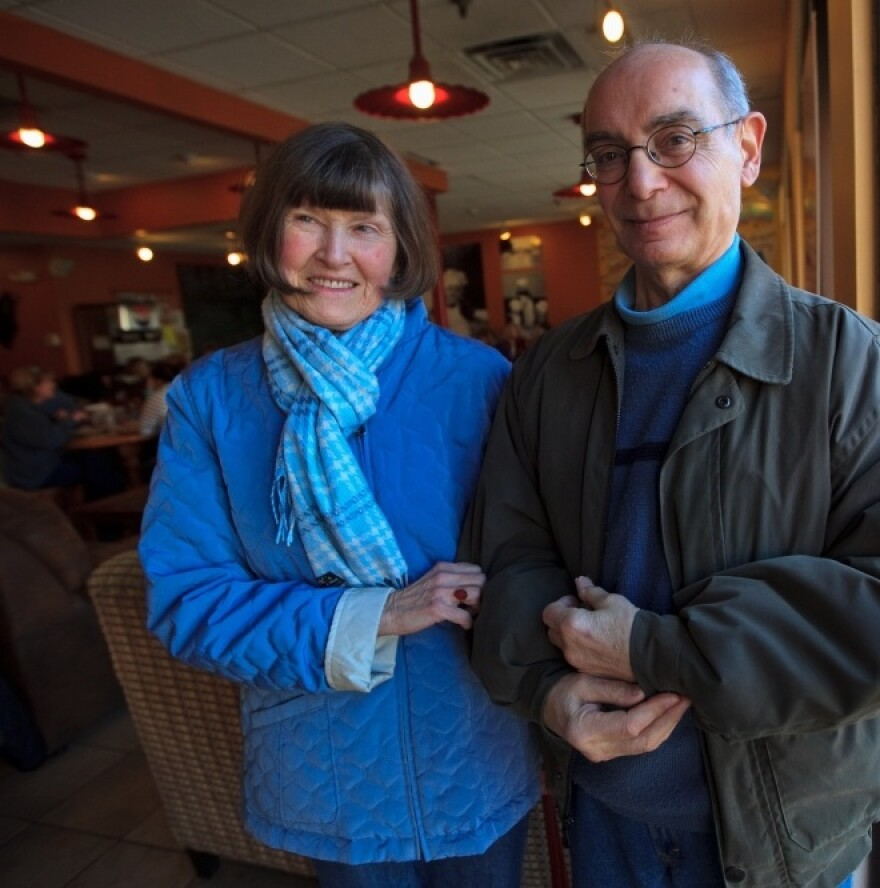 """Pricilla and Sharak Samii of Exeter, N.H., are both Democrats, but Sharak says he would vote for Ron Paul in the primary if he could because """"he's consistent."""""""