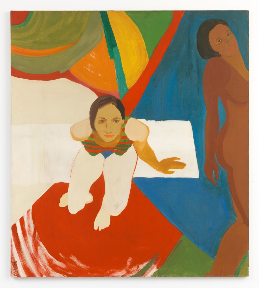 Emma Amos, <em>Seated Figure and Nude,</em> 1966