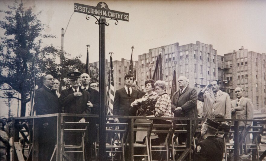 The square naming ceremony on the corner of Commonwealth Avenue and Colborne Road honoring Staff Sargeant John H. McCarthy. His brother Richie and mother Elizabeth O'Brien (center) attended the event.