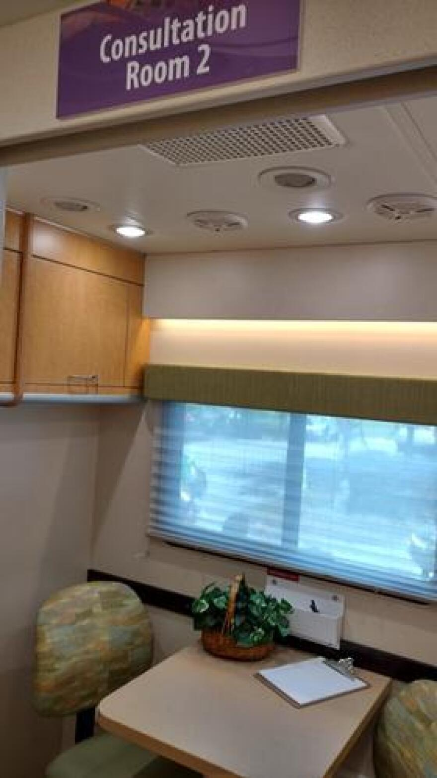 Consultation room 2 in the Mobile Suite will be mainly used to interview the caregivers of clinical trial participants.