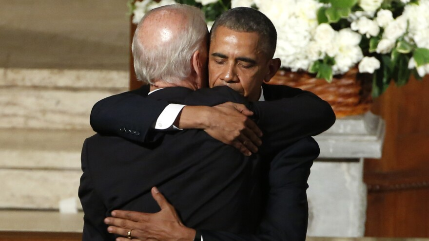 President Barack Obama hugs Vice President Joe Biden during funeral services for Biden's son, Beau Biden on Saturday, at St. Anthony of Padua Church in Wilmington, Del.