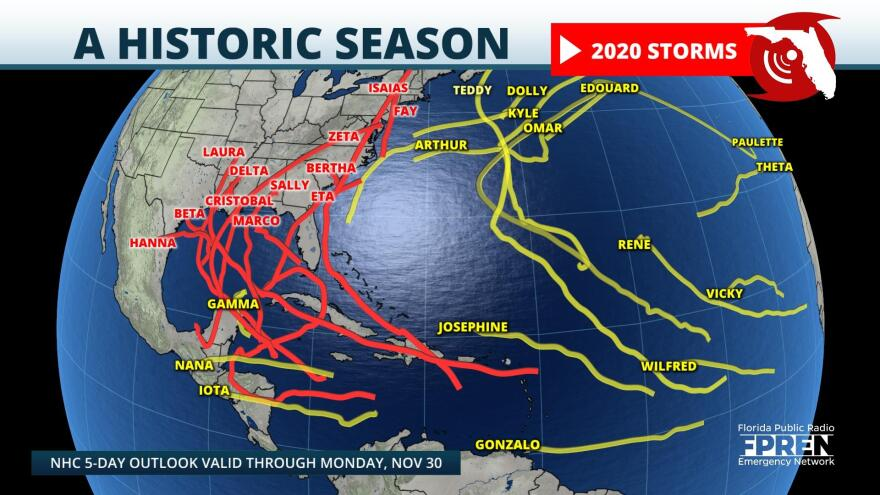 Track of all 30 tropical storms in 2020 (as of November 30)