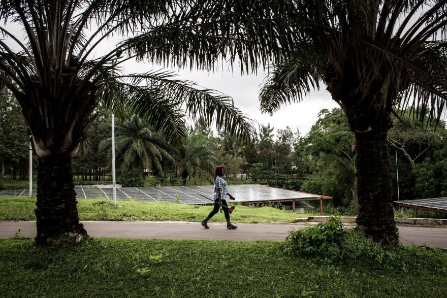 A cleaning employee walks along a road inside the Congolese president's personal ranch.