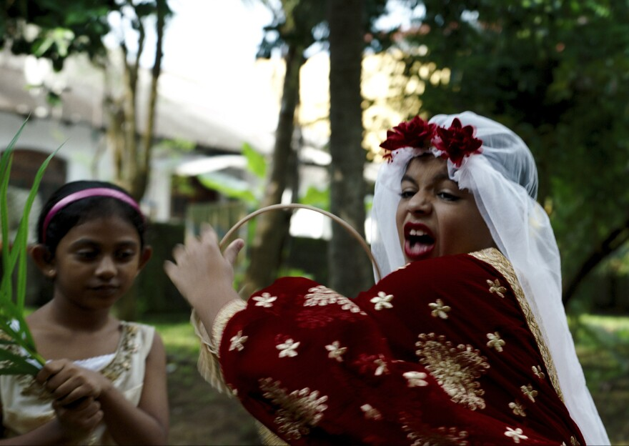 Arush Nand plays the young Arjie at his make-believe wedding in <em>Funny Boy</em>.