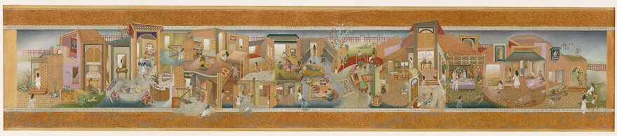 """<em>The Scroll,</em> Sikander's graduate thesis, depicts the life of a modern Pakistani woman. <strong><a href=""""http://media.npr.org/assets/artslife/arts/2015/10/the-scroll_archive2.jpg"""" target=""""_blank"""">Click here to enlarge.</a></strong>"""