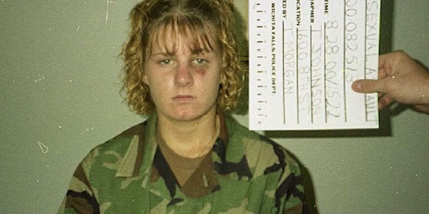 Harmony Allen as photographed by police after she reported a 2000 rape on Sheppard Air Force Base. Her assailant was convicted, then released from prison because a 'gray area' in the law.