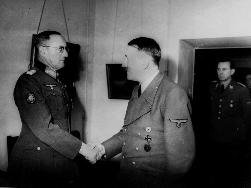 This is one of the last pictures taken of Adolf Hitler in his bunker in Berlin in 1945 as he shakes hands with General Field Marshal Ferdinand Schoerner.