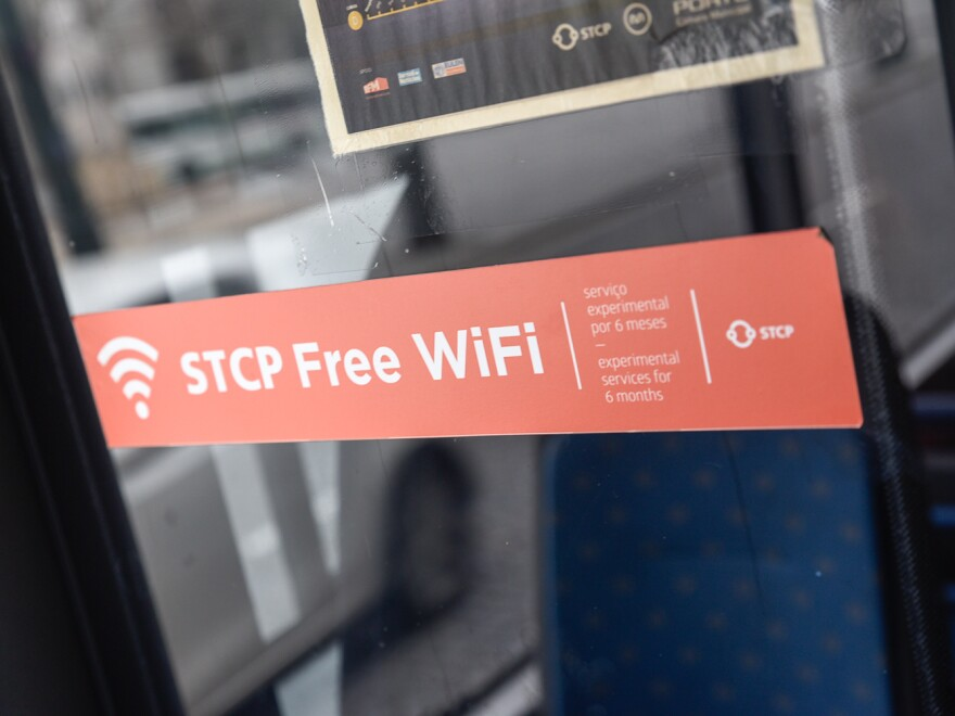 More than 600 Porto city buses and taxis have been fitted with routers to provide free Wi-Fi service. It's being touted as the biggest Wi-Fi-in-motion network in the world.