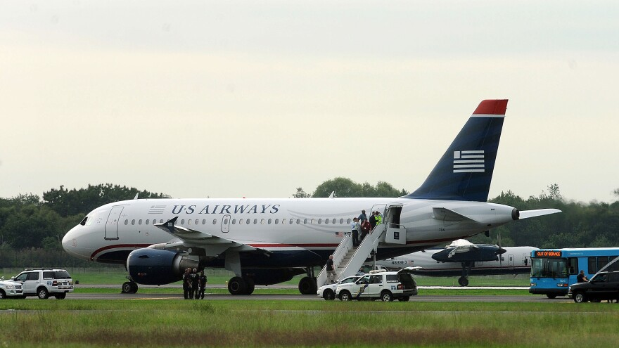 The US Air flight that was forced to return to Philadelphia on Thursday because of the hoax.