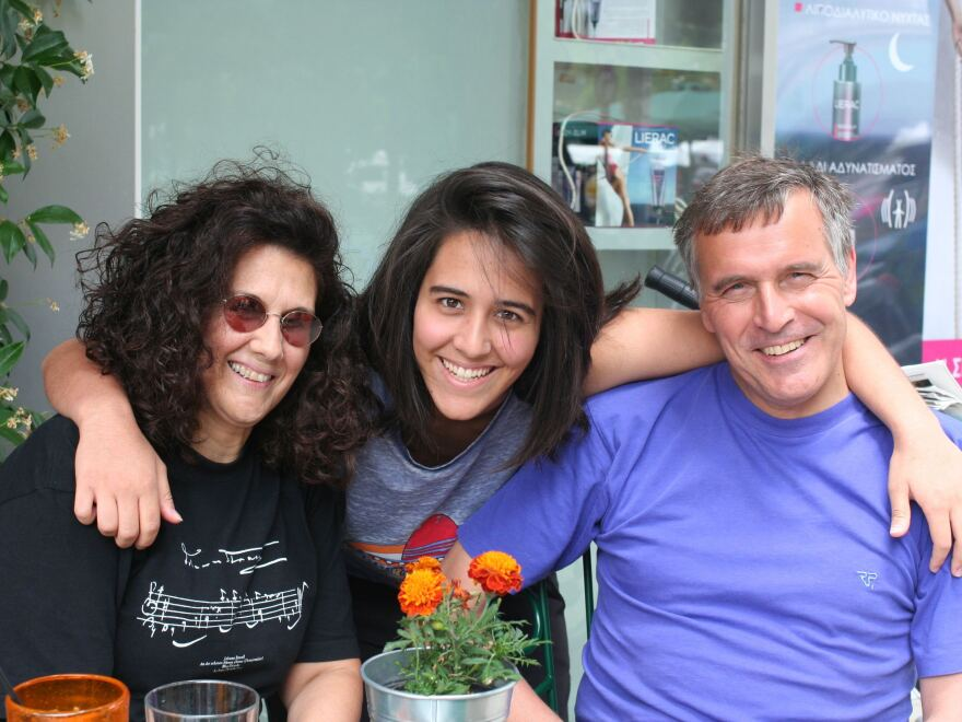 Regilla Bastian (center), pictured with her Greek mother, Calliope Spanou, and German father, Jens Bastian, considers herself European but worries about Greece's future, and her own, in the continent.