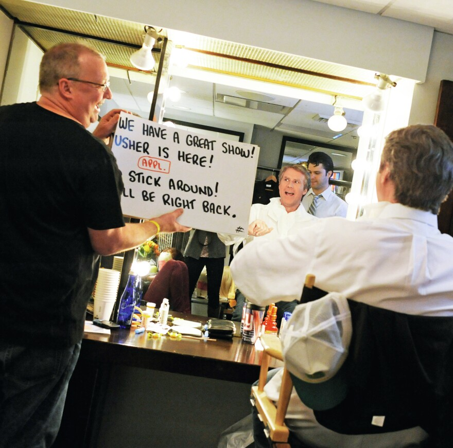 Will Ferrell, being made up as George W. Bush in 2012, reviews dialogue for his monologue with Wally Feresten.