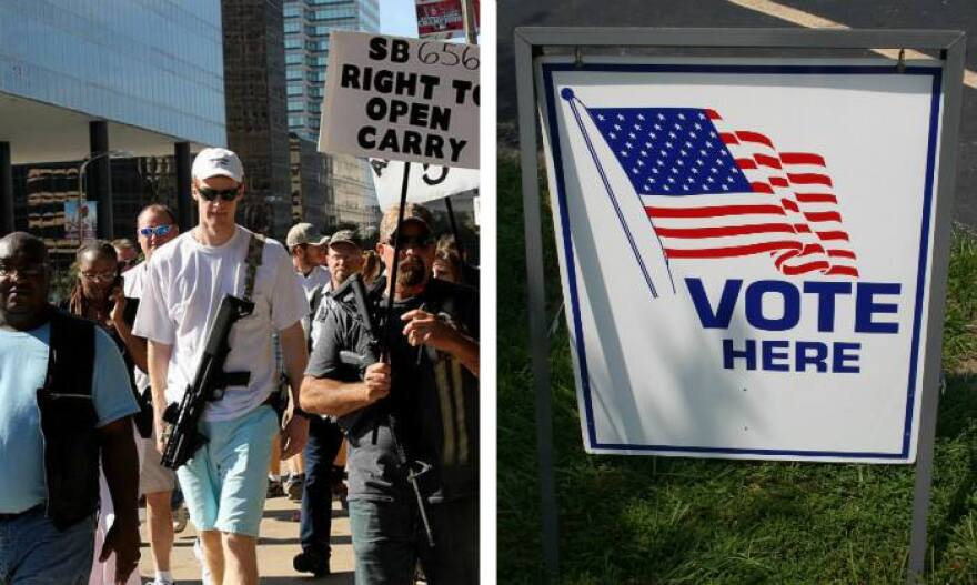 open carry walk photo and vote here sign
