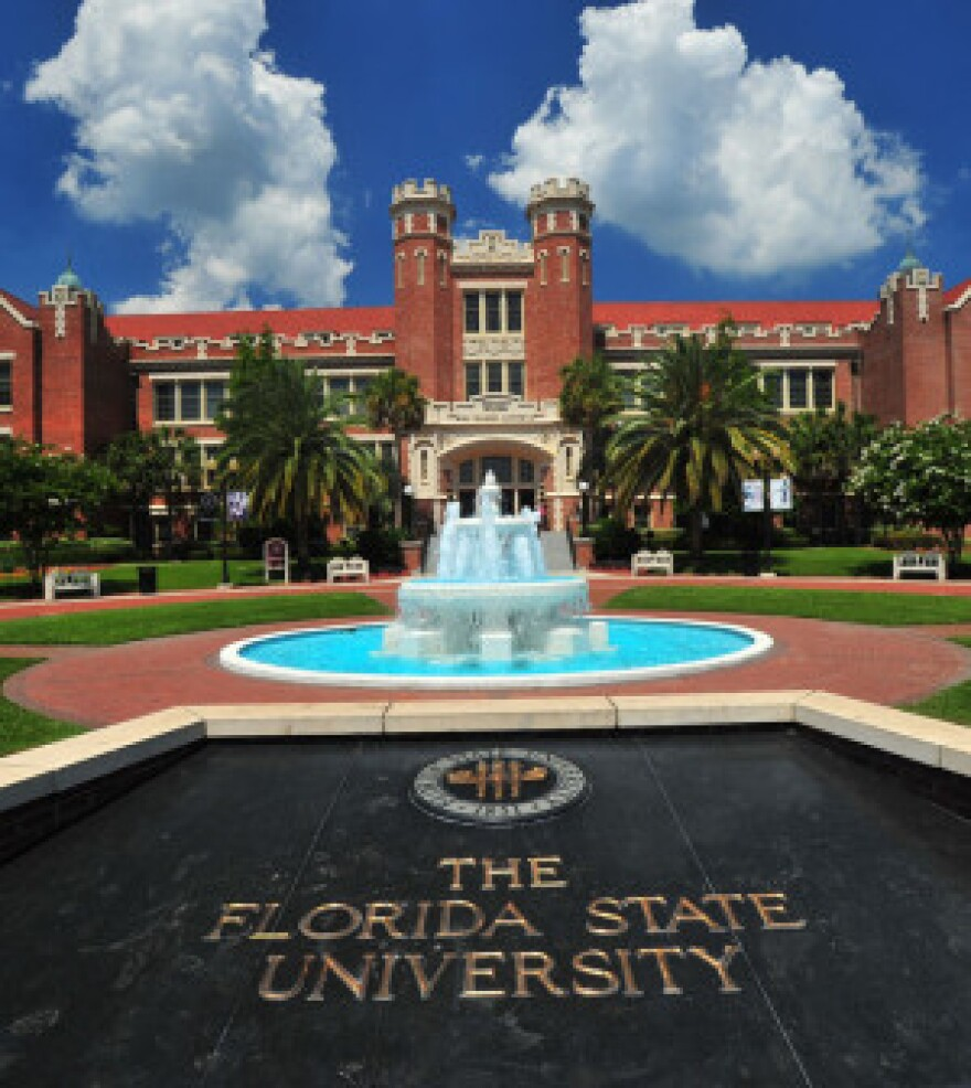 A three-tier foundain stands behind bold words that spell 'The Florida State University.'