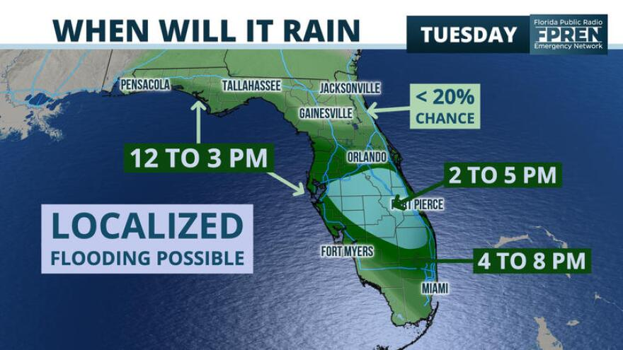 The Tampa Bay area will have to deal with drenching rains, prompting the National Weather Service to issue a flood watch for the region through Friday.