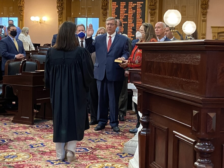 Cupp is sworn in as speaker by Ohio Supreme Court Justice Judith French.