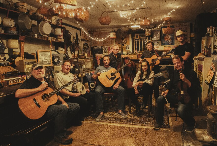 Before recording <em>Cuttin' Grass Vol. 1, Sturgill Simpson (seated at center with guitar) assembled an all-star crew of bluegrass players to help him reimagine songs selected from across his own acclaimed — and genre-defying — albums.