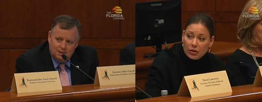 Florida Department of Children and Families Secretary Mike Carroll (left) and Florida Department of Juvenile Justice Secretary speaking during Monday's meeting of the Florida Children and Youth Cabinet.