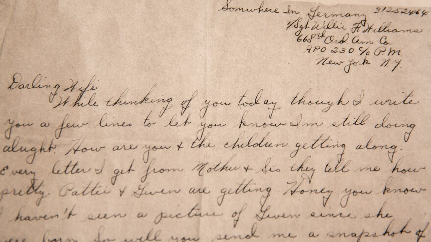"A letter written by Sgt. Willie F. Williams to his wife Effie from ""somewhere in Germany"" during World War II. The letter was found in a suitcase never opened by anyone but Effie."