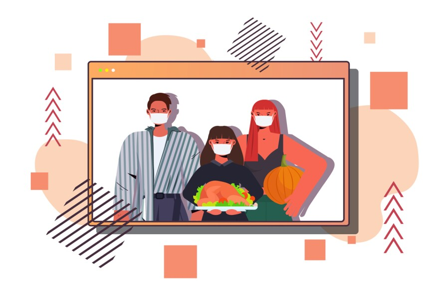 An illustration of a family in face masks celebrating thanksgiving.