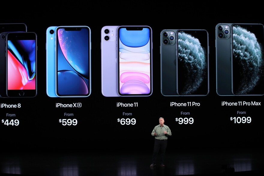 Apple's senior vice president of worldwide marketing Phil Schiller talks about the new iPhone 11 Pro during an Apple special event on Sept. 10, 2019 in Cupertino, Calif. (Justin Sullivan/Getty Images)