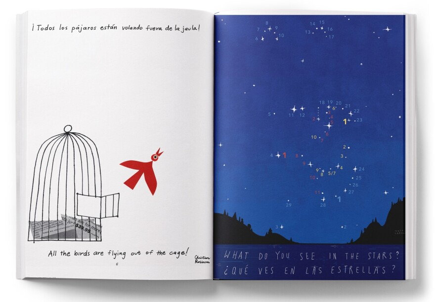 Imagine a flock of birds flying to freedom on Christian Robinson's page (left), or discover what Natalie Labarre has hidden in the stars (right).