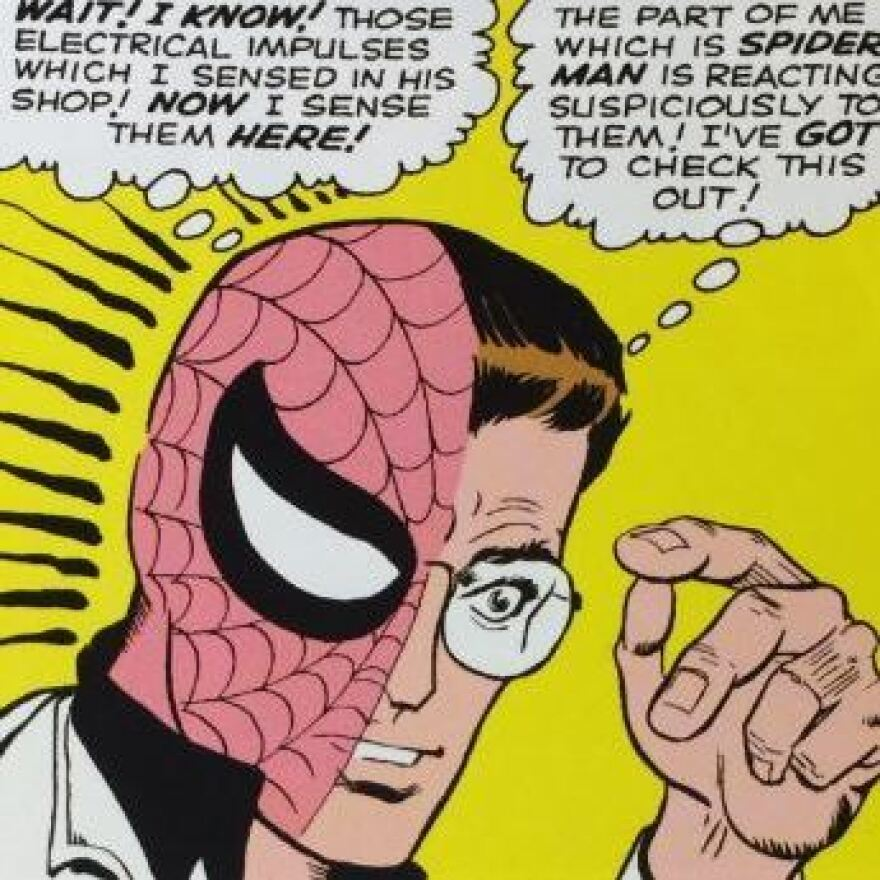 Panel from <em>The Amazing Spider-Man #2</em> (May 1963), Ditko establishes Spidey's super-senses through use of an ingenious visual device.