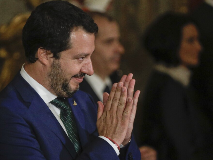New Italian Interior Minister Matteo Salvini applauds during the swearing-in ceremony for Italy's new government in Rome on June 1. He has promised to deport migrants.