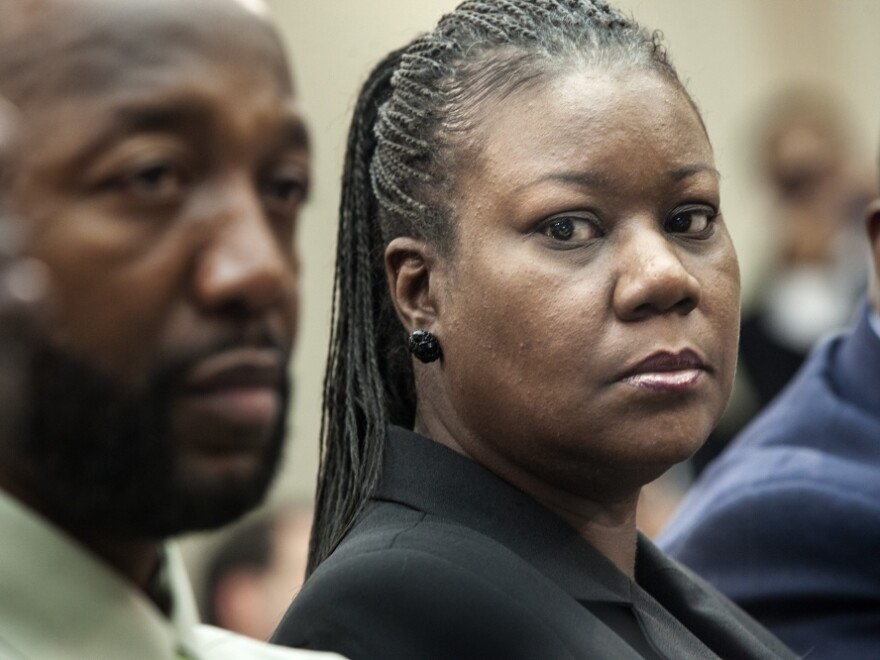 Trayvon Martin's parents, Tracy Martin and Sybrina Fulton, listen during a forum of Democratic members of the House Judiciary Committee on Tuesday.
