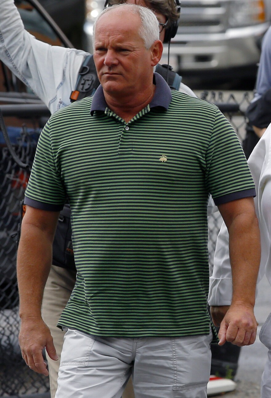 """Stephen Rakes as he arrived at the U.S. Federal Courthouse in Boston on June 12 for the first day of the """"Whitey"""" Bulger's trial."""
