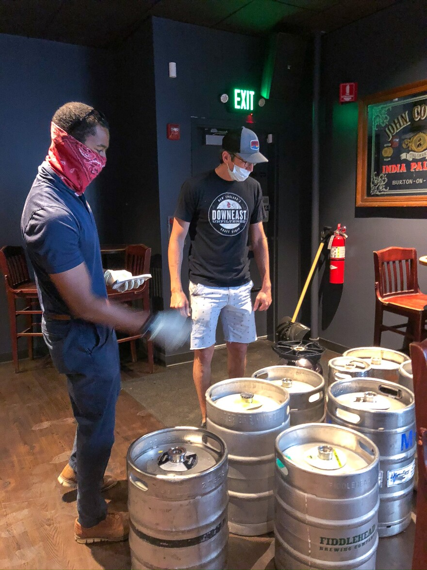 Vinny Gibson of Burke Distributing counts up kegs that Cornwall's is returning. The pub bought the beer in March, when it expected big crowds for Saint Patrick's Day, but the kegs have been gathering dust and the beer has gone flat since the pub closed because of the coronavirus.