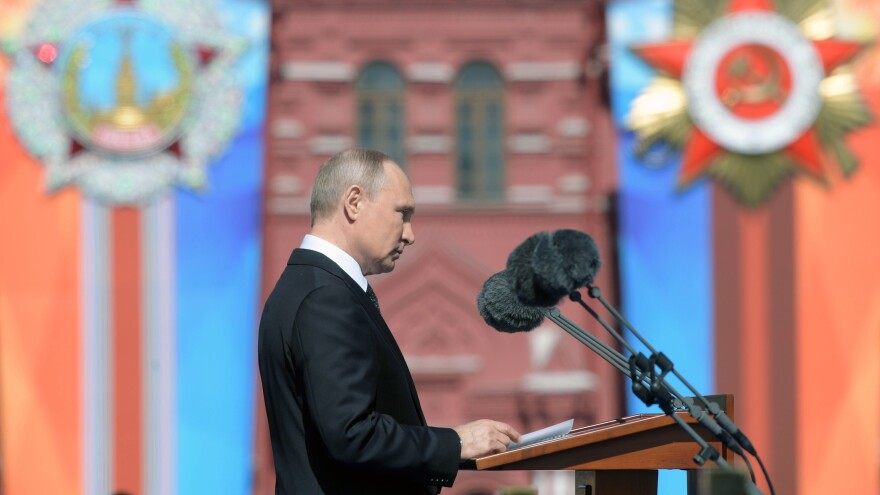 Russian President Vladimir Putin gives a speech last month during a military parade at Red Square in Moscow.