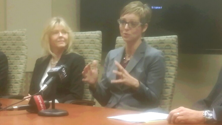 Barbara Miller, LMHS Renal Transplant System Director (left)  and Dr. Lynsey Biondi, LMHS Director of Transplantation Services (right)